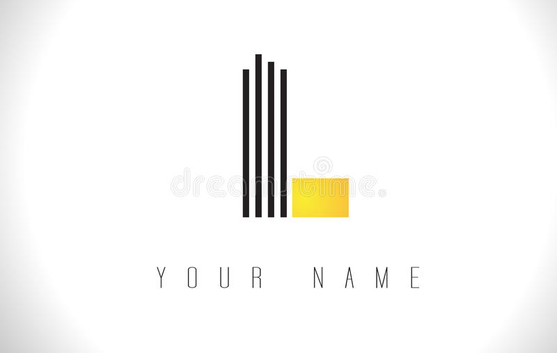 L黑色排行信件商标 创造性的线在传染媒介模板上写字 库存例证