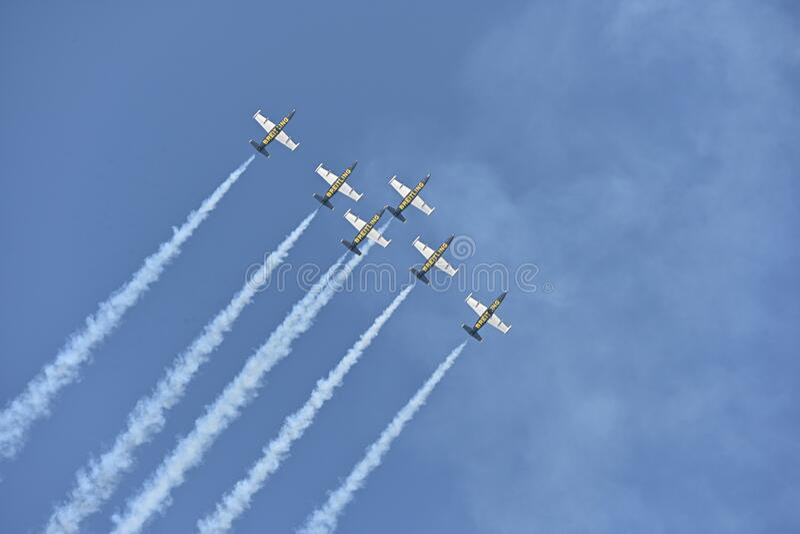 L39阿尔巴特罗斯喷气机队 免版税库存照片