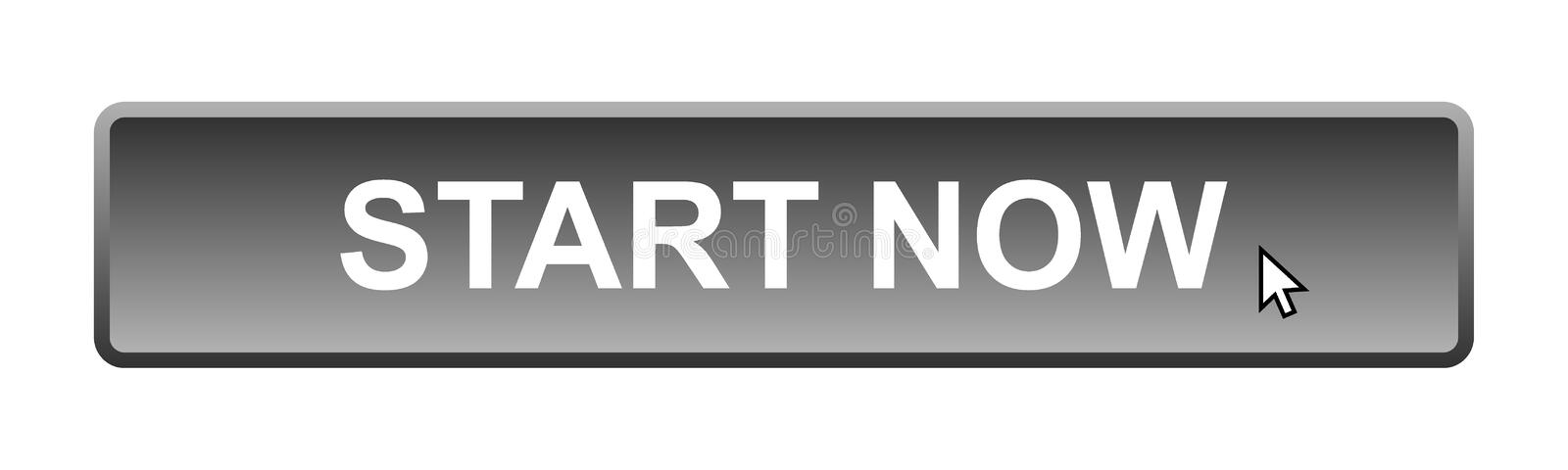 Start now. Web button on computer generated web button icon on pure white background vector illustration