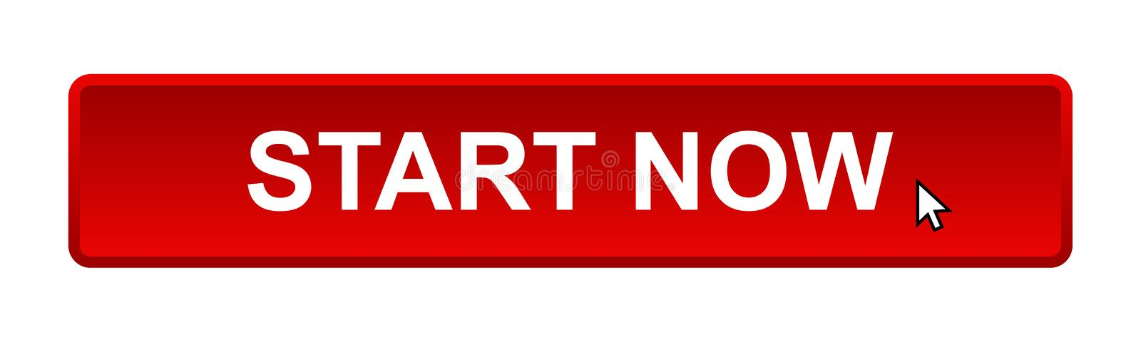 Start now. Web button on computer generated web button icon on pure white background royalty free illustration
