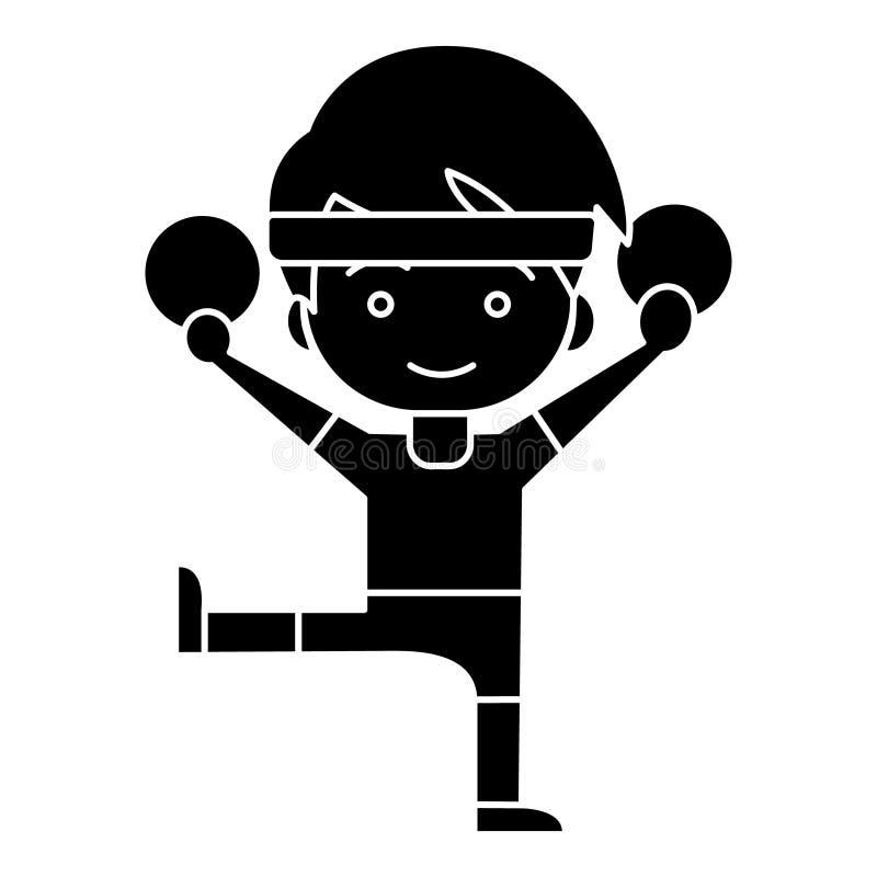 L'aérobic d'homme - séance d'entraînement - gymnastique sonne l'icône, illustration de vecteur, noir se connectent le fond d'isol illustration de vecteur