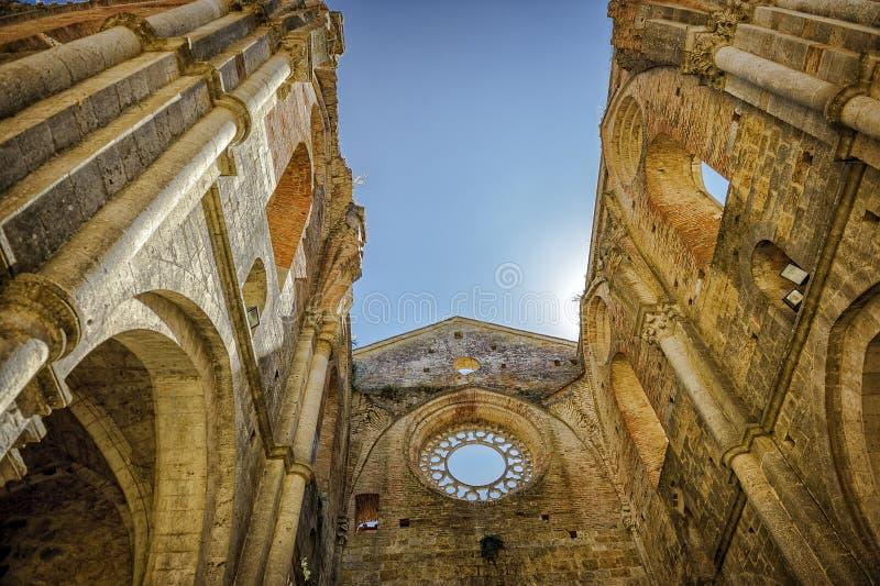 L'abbazia antica di San Galgano, Toscana Chiusdino, Siena, Italia fotografia stock libera da diritti