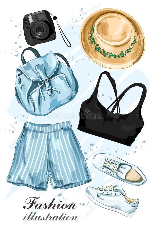 L'abbigliamento alla moda dell'estate ha messo con la macchina fotografica del cappello, di shorts, della cima del raccolto, dell illustrazione di stock