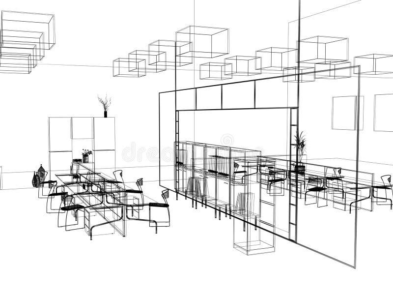 L'abbozzo moderno dell'ufficio illustrazione vettoriale