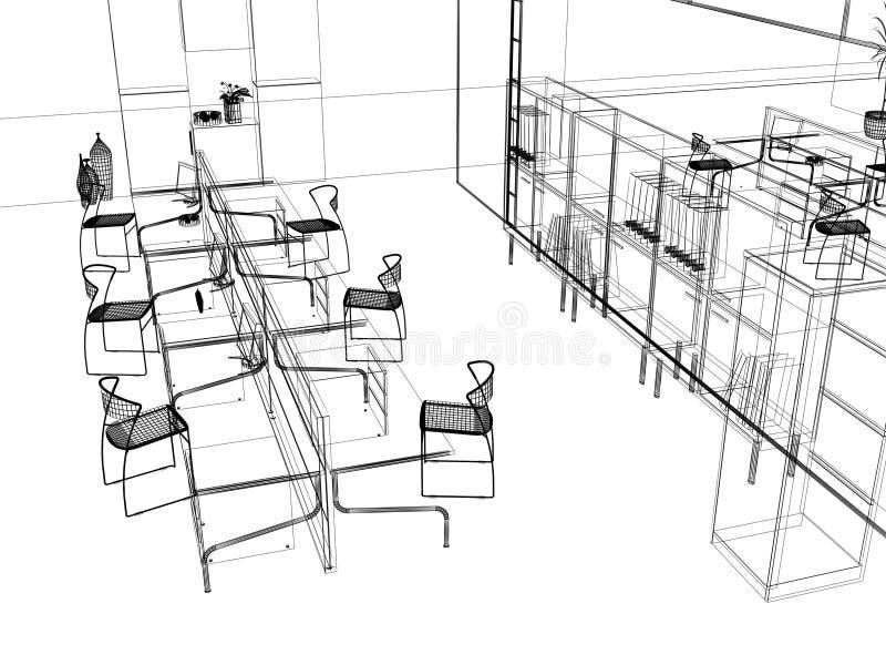 L'abbozzo moderno dell'ufficio illustrazione di stock