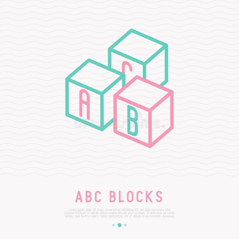 L'ABC bloque la ligne mince icône illustration libre de droits