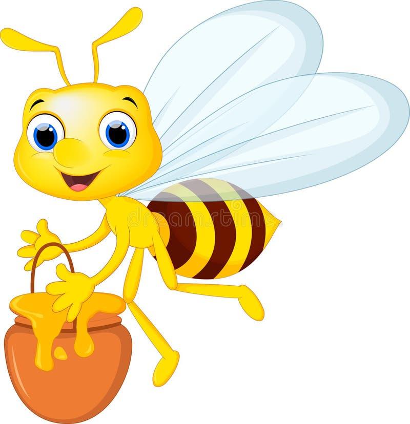 L'abeille de bande dessinée apportent un seau de miel illustration libre de droits