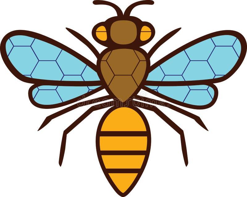 L'abeille de dessin de silhouette. Sur les ailes et le corps  illustration stock