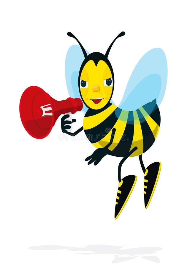 L'abeille parle dans le mégaphone illustration de vecteur