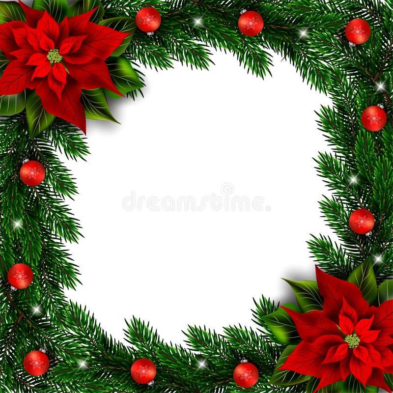 L'abete si ramifica struttura di festa con la stella di Natale e gli ornamenti royalty illustrazione gratis