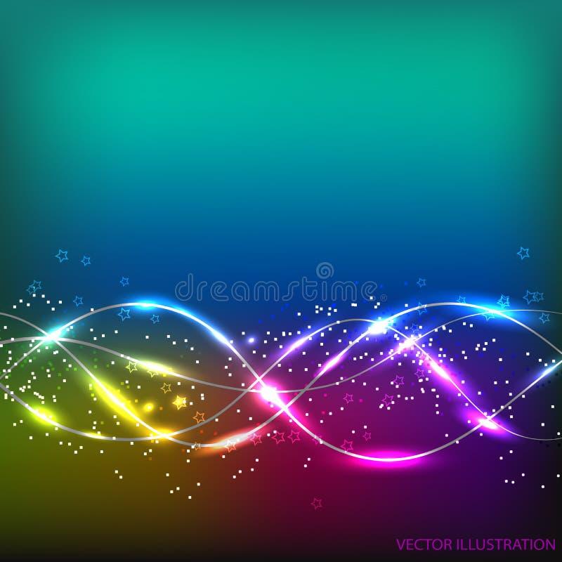 L'abrégé sur Colorfull ondule le fond Illustration dans différentes couleurs Illustration de vecteur illustration de vecteur