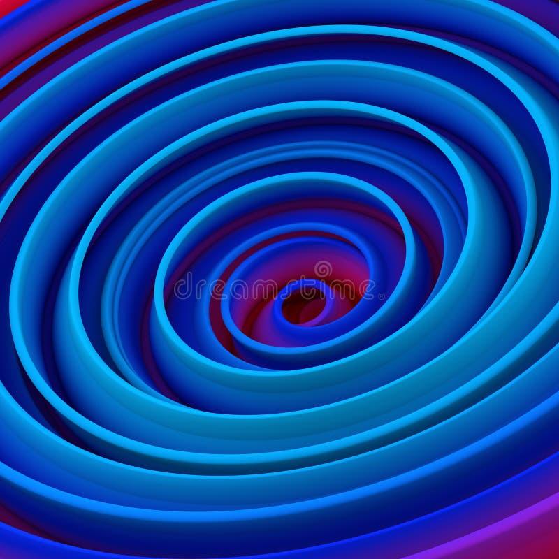 L'abrégé sur en spirale tordu bleu 3D forme rendent illustration libre de droits