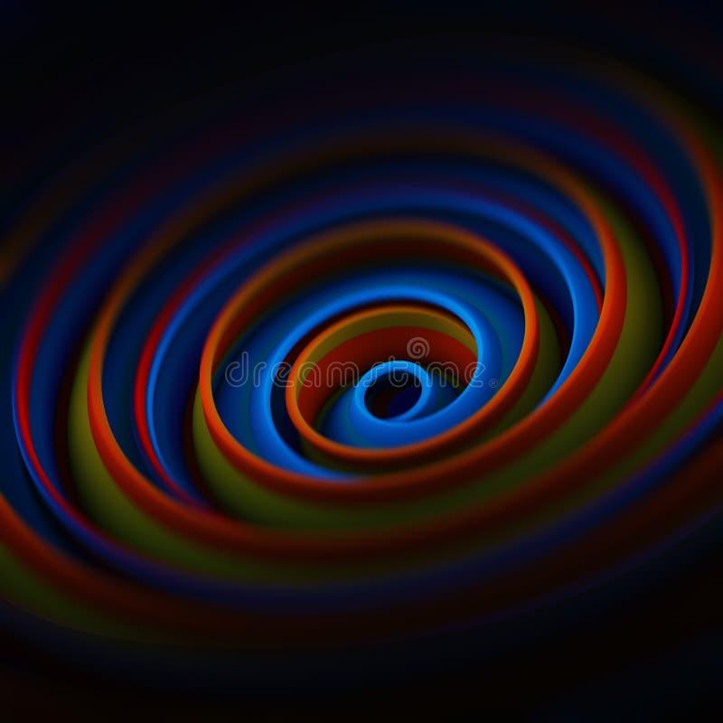 L'abrégé sur en spirale tordu 3D forme rendent avec le DOF illustration libre de droits