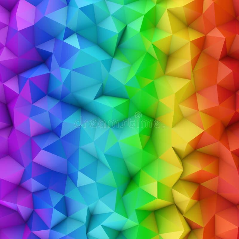 L'abrégé sur extérieur polygonal 3D gradient de spectre d'arc-en-ciel rendent illustration stock