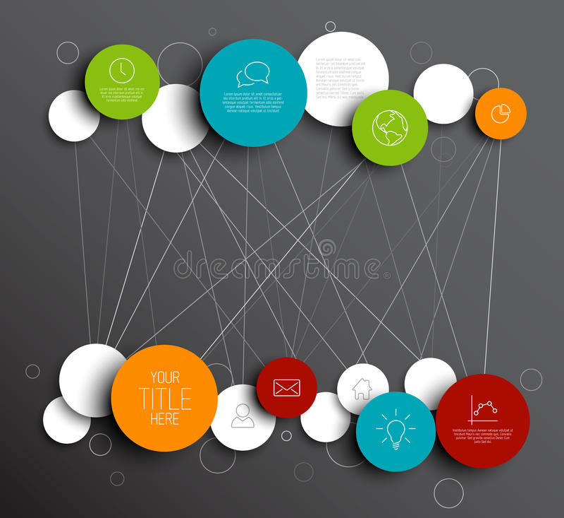 L'abrégé sur foncé vecteur entoure le calibre infographic de réseau illustration libre de droits