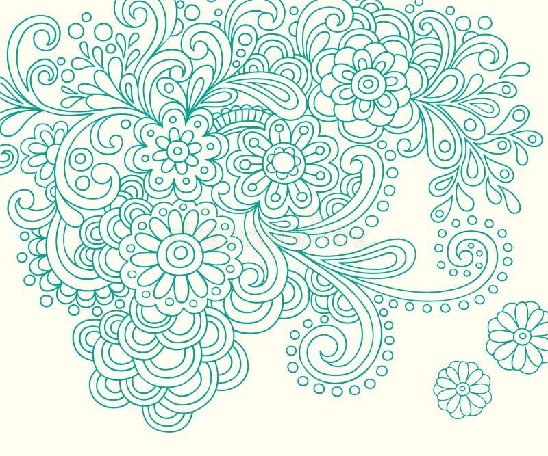 L'abrégé sur henné de griffonnage fleurit le vecteur illustration de vecteur