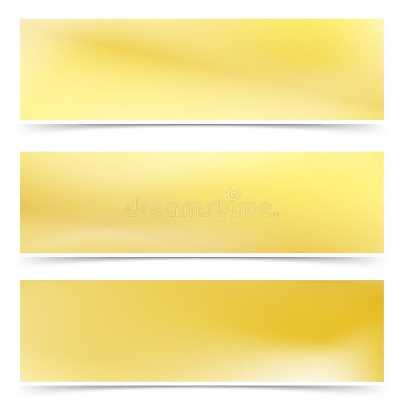 L'abrégé sur métallique d'or lumineux gradient carde la collection illustration de vecteur