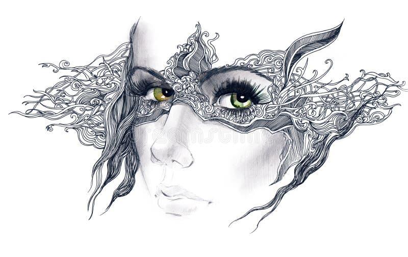 L'abstrait a décoré le visage de femme illustration de vecteur