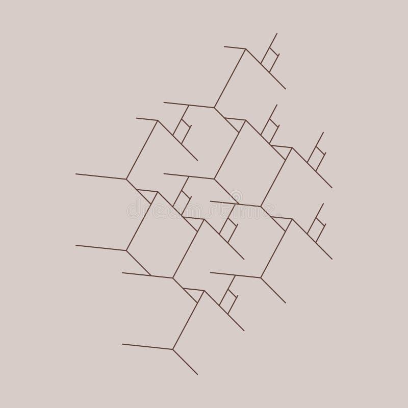 L'abstrait enferme dans une boîte le fond Technologie moderne avec la maille carrée Lignes géométriques Cellule de cube illustration stock