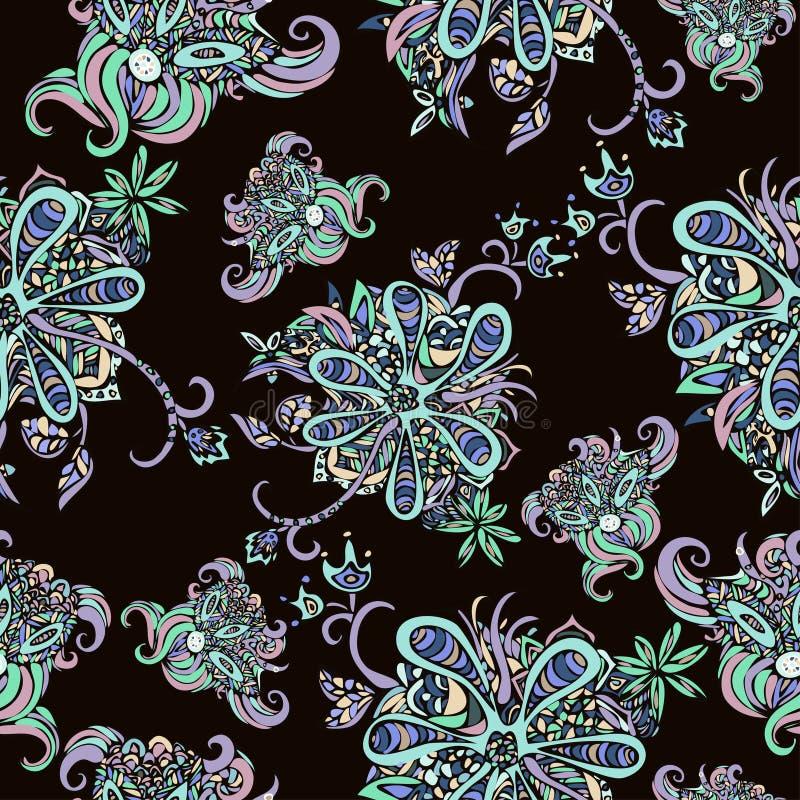 L'abstrait fleurit la configuration sans joint Griffonnage, croquis Fleurs noires et blanches sur le fond d'écarlate Pour la conc illustration libre de droits
