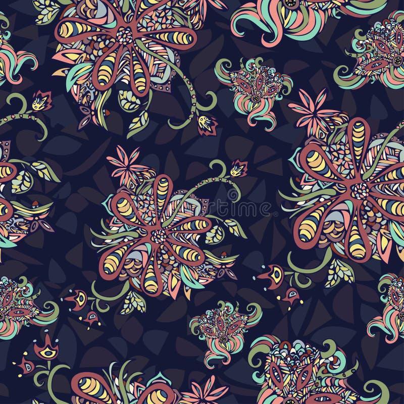 L'abstrait fleurit la configuration sans joint Griffonnage multicolore sur un fond bleu Pour la conception de tissu, textile, pap illustration stock