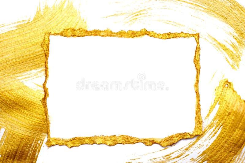 L'or abstrait a peint le cadre sur un blanc et a doré le fond avec l'endroit pour votre texte image libre de droits