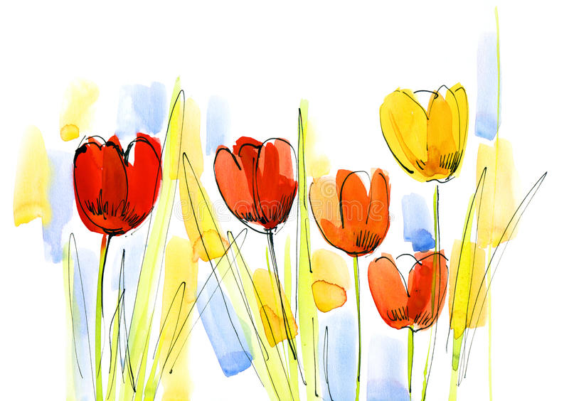 L'abstrait a peint le fond floral illustration de vecteur