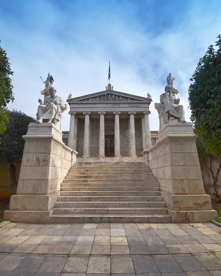 L'académie nationale, avec Apollo, Athéna, Platon a images libres de droits