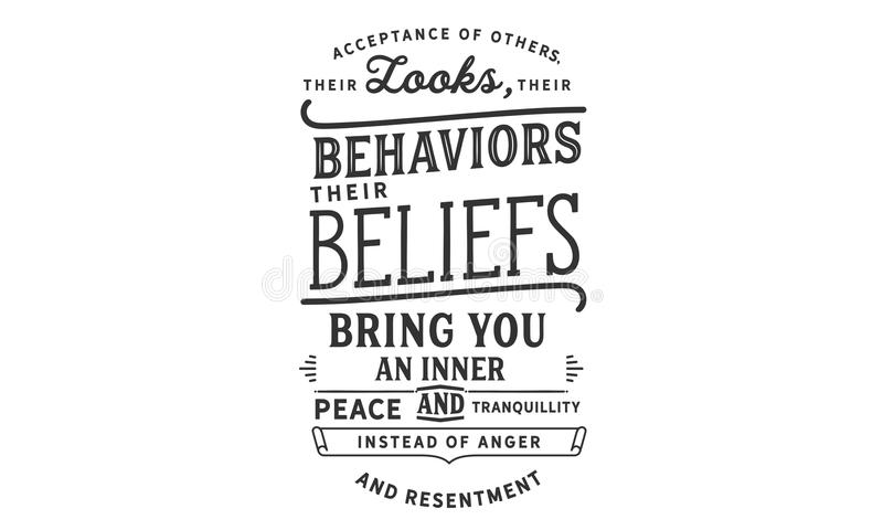 L'acceptation d'autres, leurs regards, leurs comportements, leurs croyances, t'apportent une paix et une tranquilité intérieures illustration de vecteur
