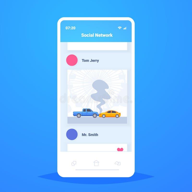 L'accident d'accident de voiture sur la collision frontale de route s'est brisé l'application de communication sociale mobile en illustration de vecteur
