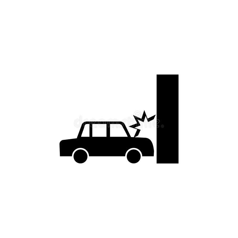 L'accident de voiture, automobile se brise dans l'icône de mur illustration stock