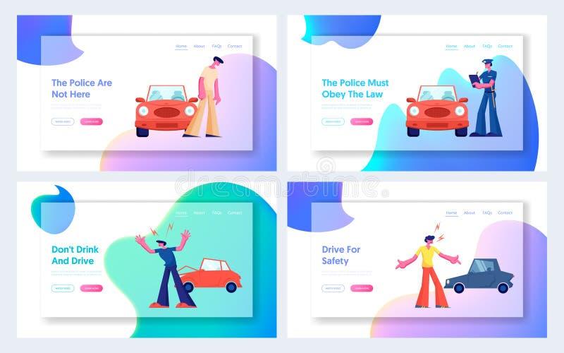 L'accident de voiture sur l'ensemble de page d'atterrissage de site Web de route, couplent des caractères de conducteurs discutan illustration de vecteur