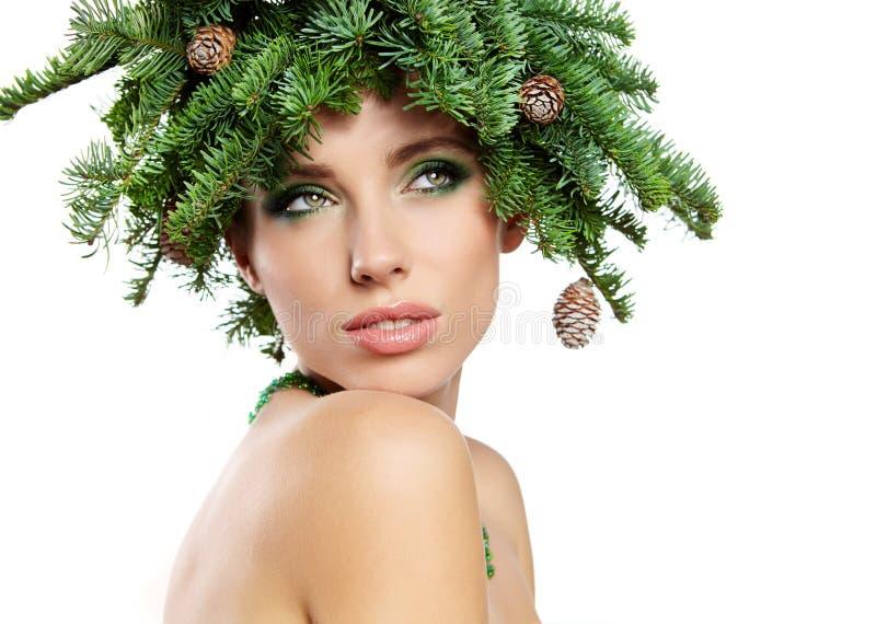 L'acconciatura di festa dell'albero di Natale e fa immagini stock