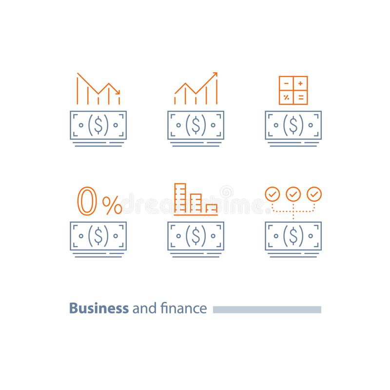 L'acconto, rifinanzia il grafico di prestito, di approvazione di credito, di dividendi di investimento, di diminuzione e di aumen illustrazione vettoriale