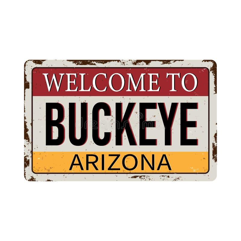 L'accueil au métal rouillé de cru de l'Arizona de maronnier américain se connectent un fond blanc, illustration de vecteur illustration de vecteur