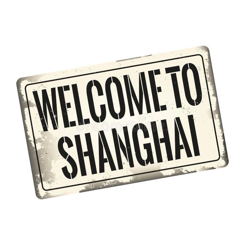 L'accueil au métal rouillé de cru de Changhaï se connectent un fond blanc, illustration de vecteur illustration de vecteur