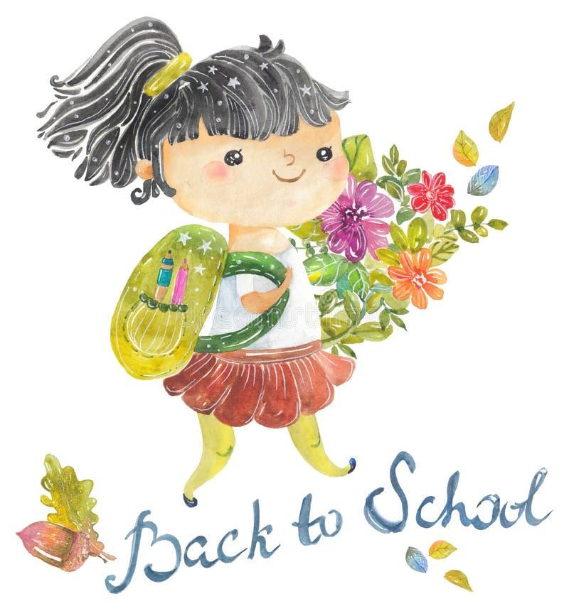 L'accueil de nouveau à l'école, école mignonne d'aquarelle badine illustration de vecteur