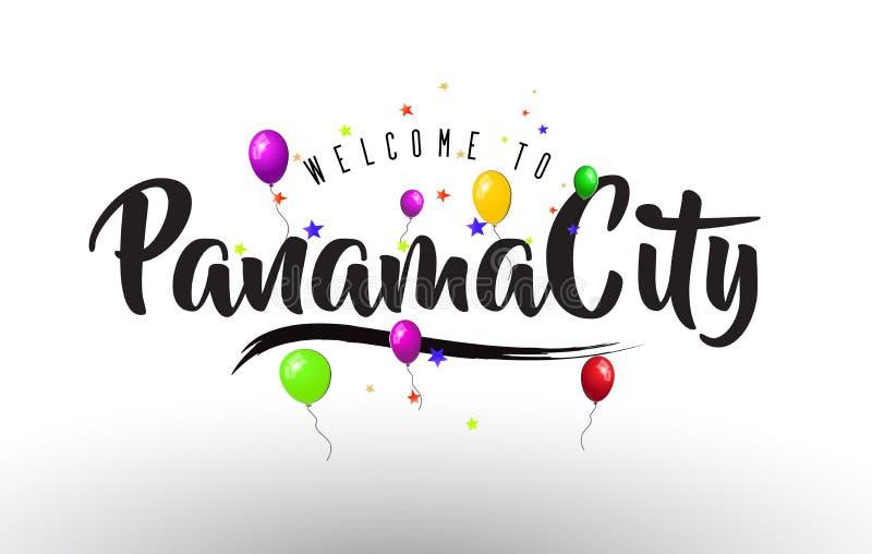 L'accueil de Panamá City à textoter avec les ballons colorés et les étoiles conçoivent illustration stock