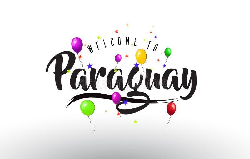 L'accueil du Paraguay à textoter avec les ballons colorés et les étoiles conçoivent illustration de vecteur