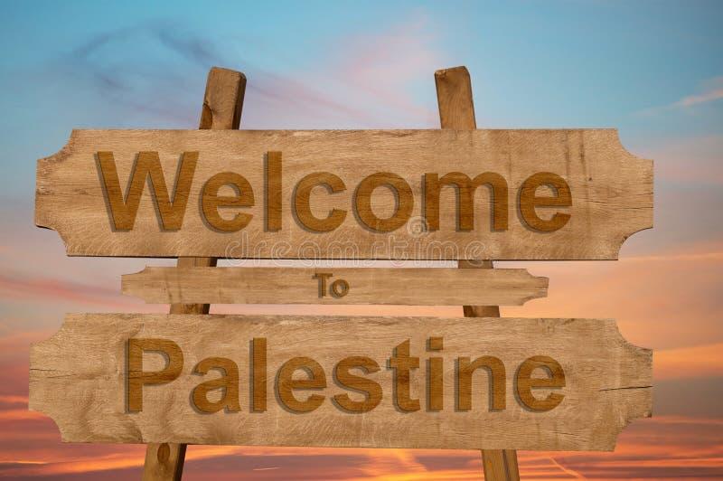 L'accueil vers la Palestine se connectent le fond en bois illustration stock