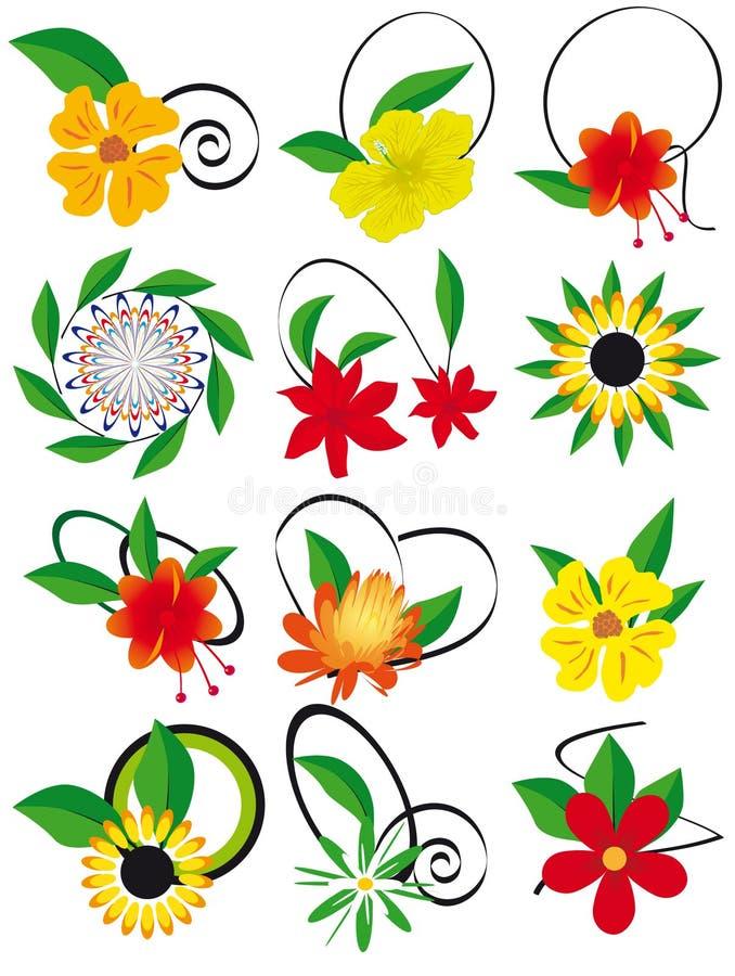 L'accumulazione dei fiori e dei fogli al disegno illustrazione di stock