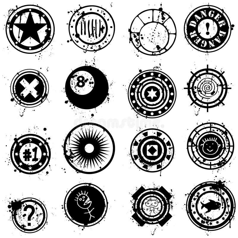 L'accumulazione del vettore Grunge spazzola o timbra illustrazione vettoriale