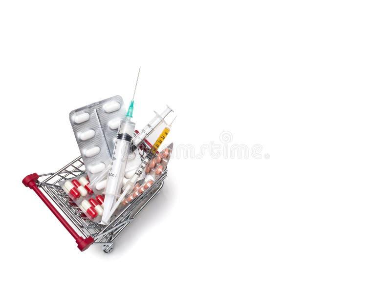 L'achat des drogues des seringues de pharmacie dope, des seringues dans les achats photographie stock