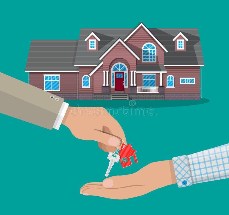 L'achat, location ou louent une maison Maisons d'immeubles?, appartements à vendre ou pour le loyer illustration de vecteur