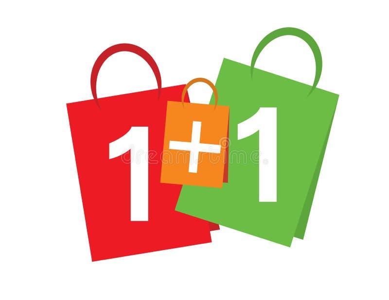 L'achat un de bannière de vente obtiennent un gratuit texte de bannière de 1+1 ventes sur des paniers images stock