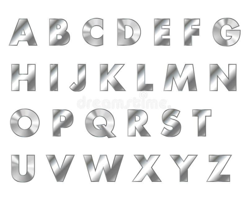 L'acier marque avec des lettres la police en métal illustration stock