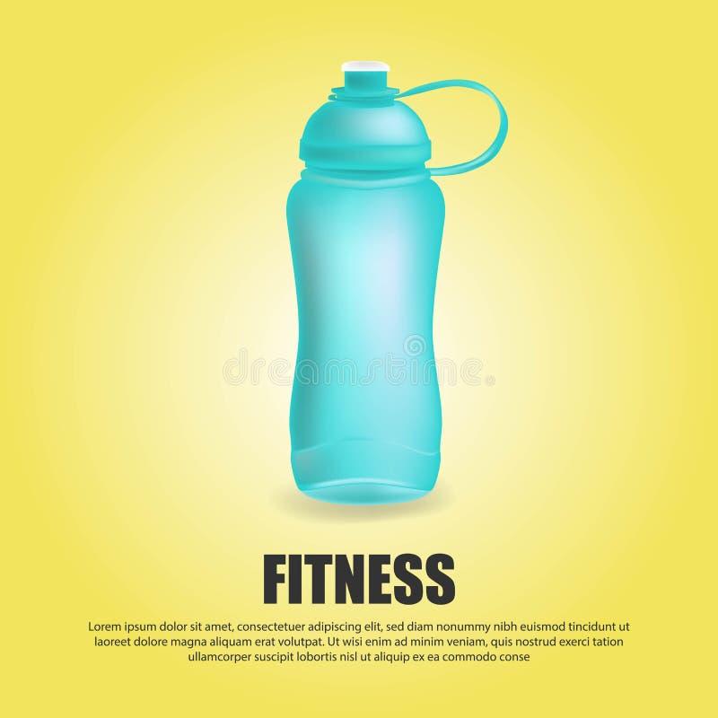 L'acqua allegra di sport di vettore blu della bottiglia ha imbottigliato la bevanda termo e l'insieme di sport della bevanda di p illustrazione di stock