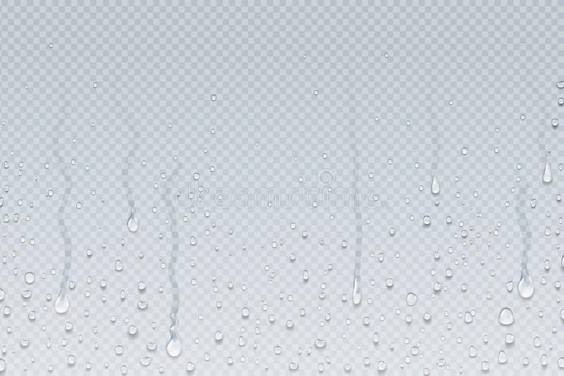 L'acqua cade la priorit? bassa Gocciolamenti su vetro trasparente, gocce di pioggia di condensazione del vapore della doccia sull royalty illustrazione gratis