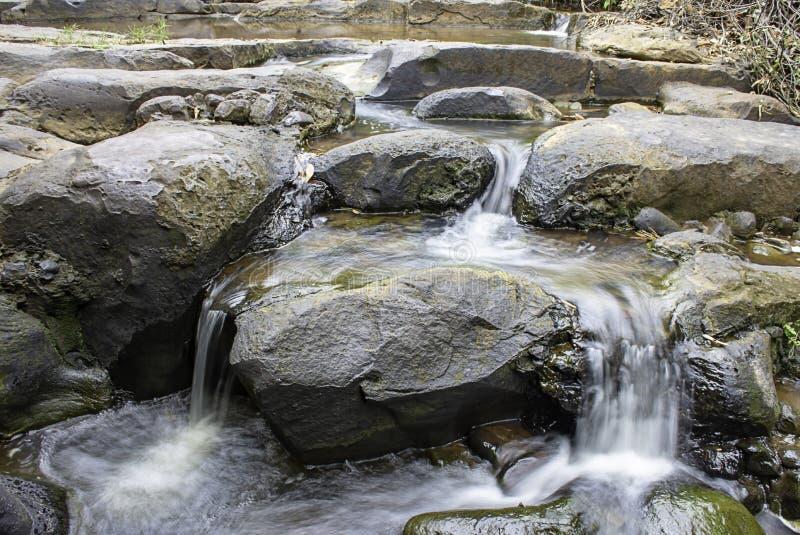 L'acqua che circola sulle rocce e sugli alberi giù una cascata alla cascata di Khao Ito, Prachin Buri in Tailandia fotografia stock libera da diritti
