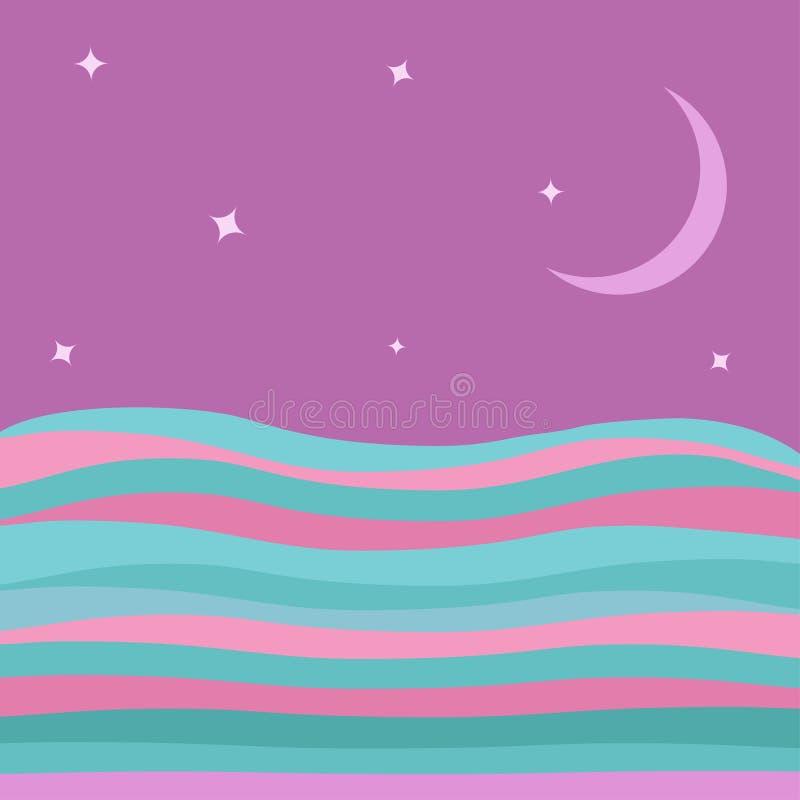 L'acqua dell'oceano del mare con il rosa blu ondeggia l'architettura piana del pæsaggio subacqueo dell'estratto del fondo delle s royalty illustrazione gratis